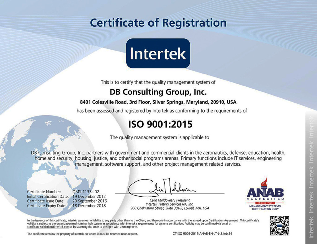 Db Upgrades To Iso 90012015 Db Consulting Group